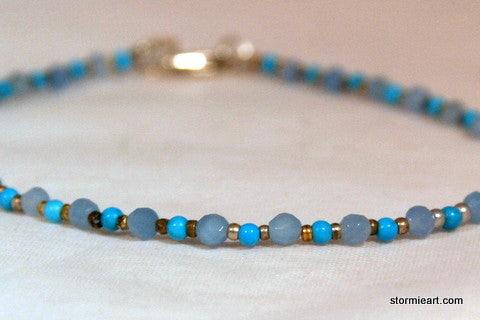 Turquoise and Blue Quartz Bracelet