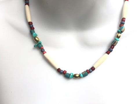 Short Brass Trade Bead Necklace 19 inches