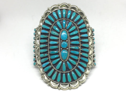 Stunning Native American Turquoise Cluster Petite Cuff