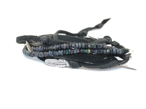 Natural Black Rainbow Opal Bracelet