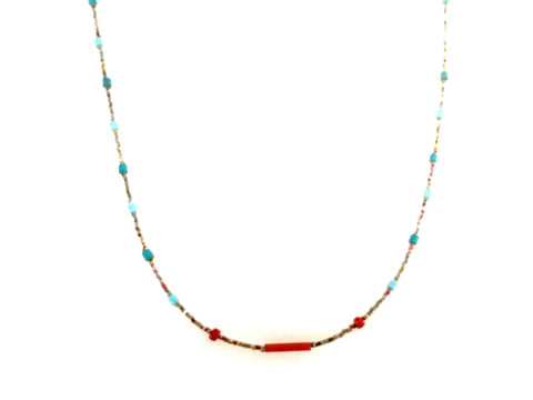 Red & Powder Blue Necklace