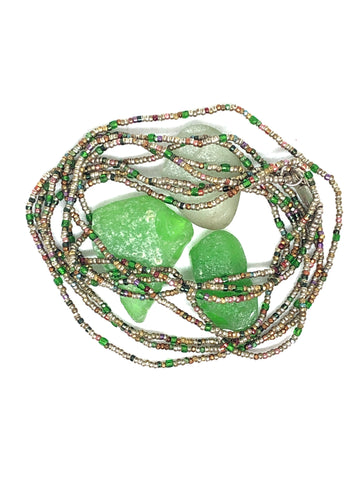 Green Antique Mixed Metal Beaded Necklace