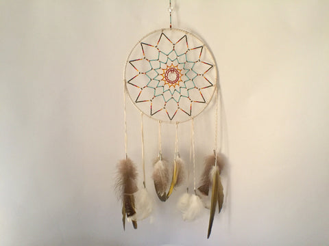 Red Circle Crystal Heart Center Dreamcatcher