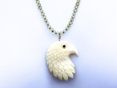 Craved Eagle Head Necklace