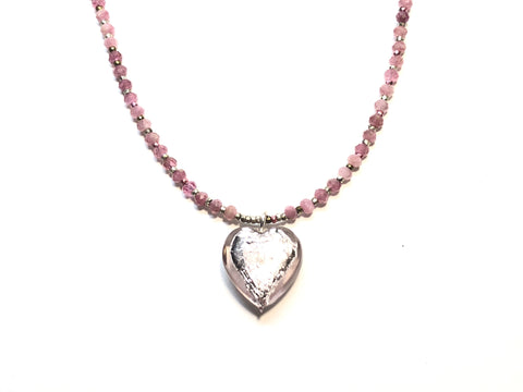 Frosty Pink Heart Necklace