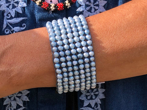 Blue Pearl Leather Bracelet