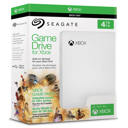 Seagate Game Drive for Xbox 4TB External HDD 1 Month Xbox Game Pass Membership - White (STEA2000417)