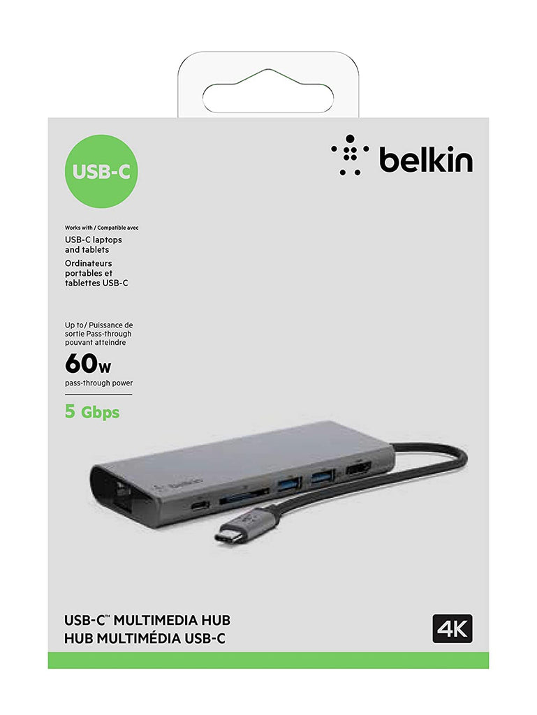 Belkin USB-C Multimedia Hub with USB-C Cable (USB-C Dock for Mac OS and Windows USB-C Laptops)