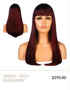 Rich Burgundy Curlable Synthetic Wig
