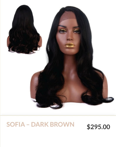 Dark Brown Curlable Synthetic Wig
