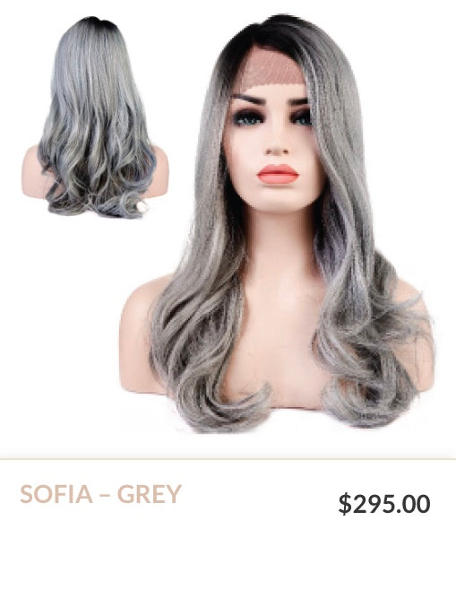Grey Curlable Synthetic Wig