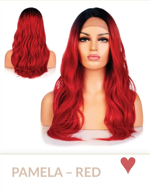 Red Curlable Synthetic Wigs
