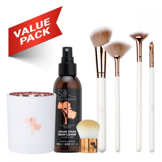7pc White & Rose Gold Professional Brush & Clean Set