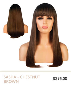 Chestnut Brown Curlable Synthetic Wigs