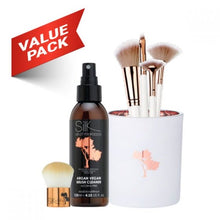 Load image into Gallery viewer, 7pc White & Rose Gold Professional Brush & Clean Set