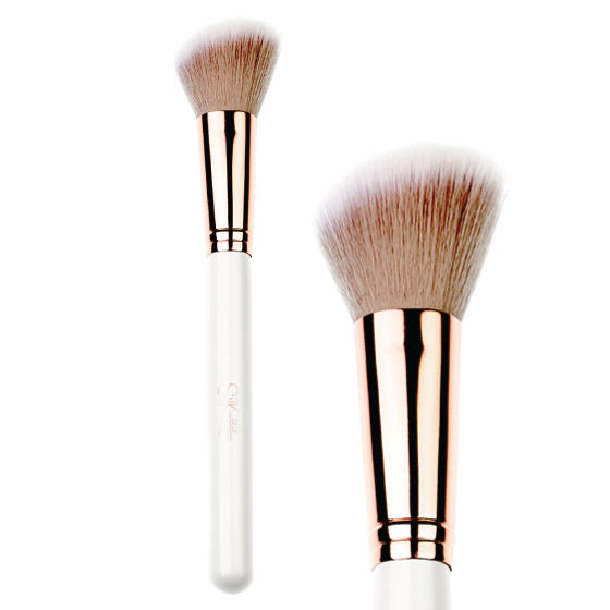 Vegan Angled Powder Brush White & Rose Gold