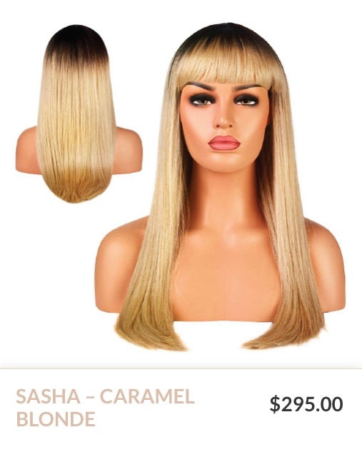 Caramel Blonde Curlable Synthetic Wig