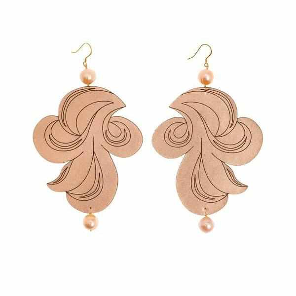 Cercei Tattoo Swirl rose gold cu perle Lady Magpie - Neogalateca