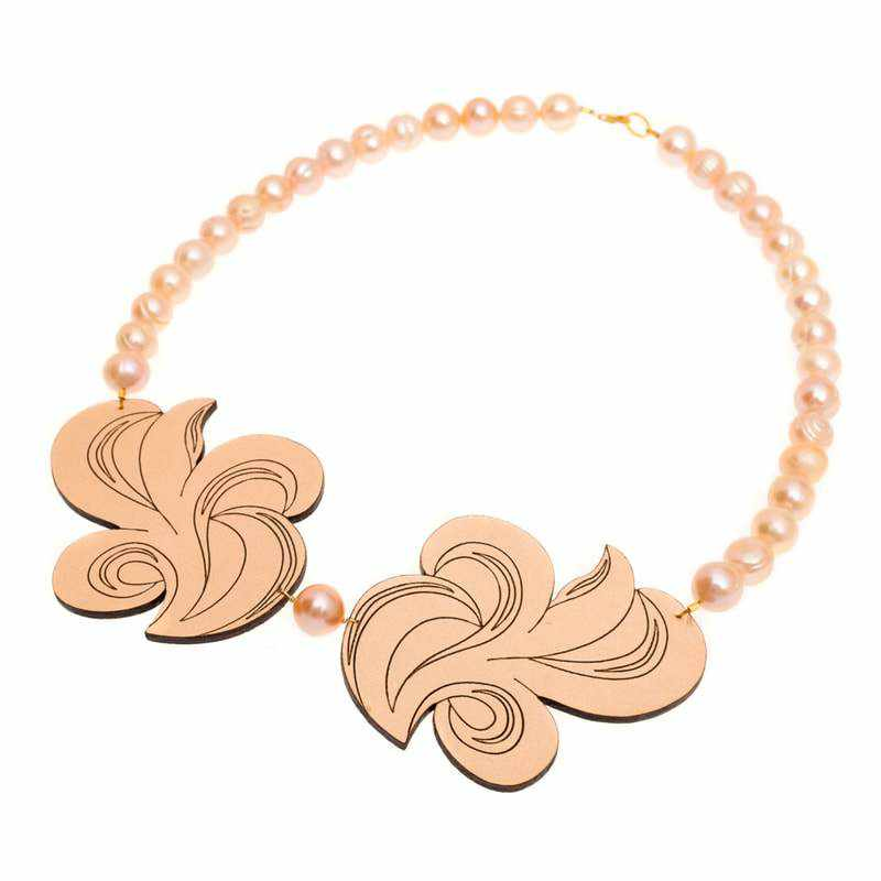 Colier Tattoo Swirl rose gold cu perle Lady Magpie - Neogalateca