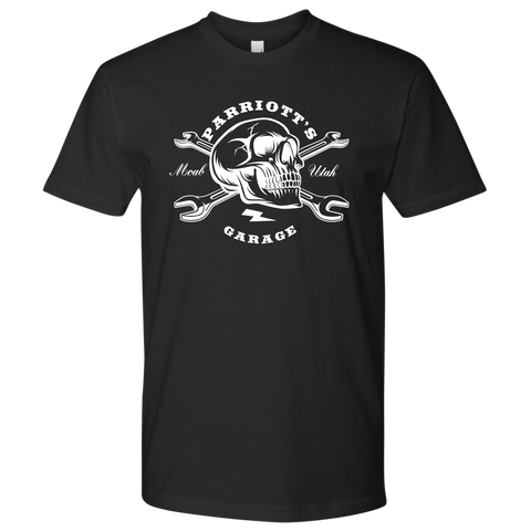 Parriott's Garage Next Level Skull Cross Wrench Mens Shirt