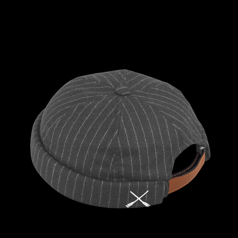 MIKI DOCKER BEANIE GREY STRIPES PATCHWORK