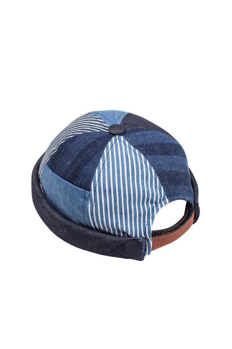 MIKI DOCKER BEANIE BLUE STRIPES DENIM PATCHWORK