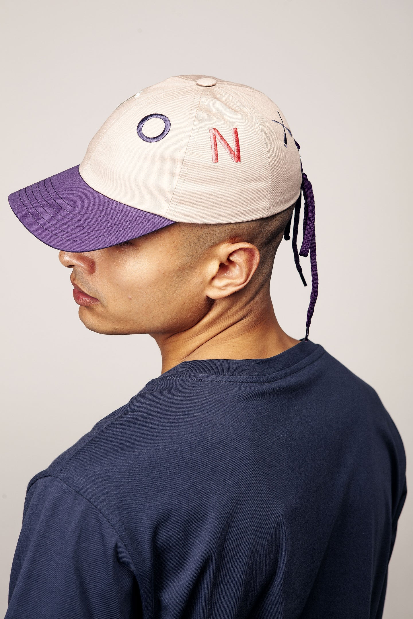 CITY CAP CURVED VISOR BEIGE & PURPLE LACE