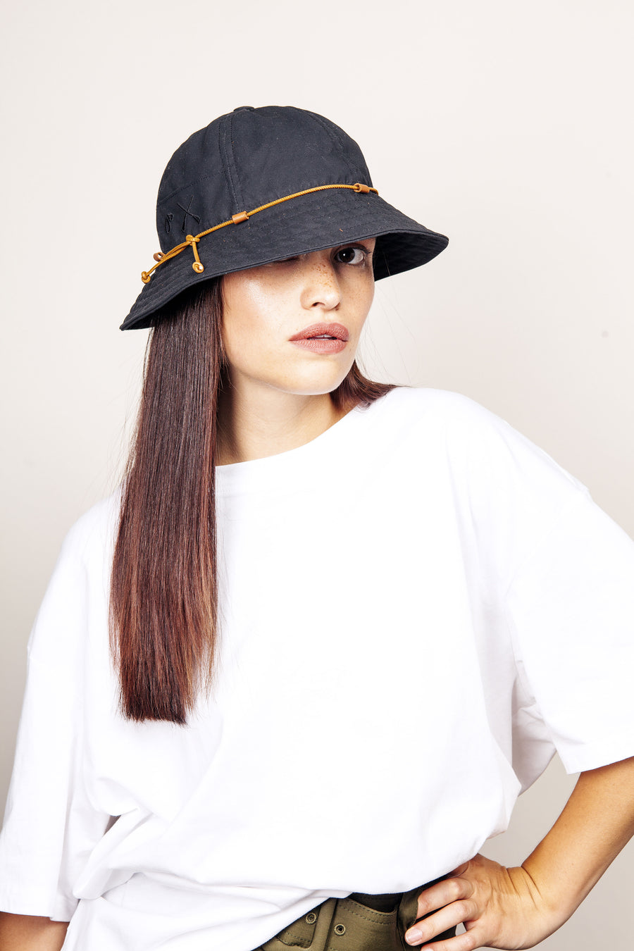 BUCKET HAT BLACK WATERPROOF 6 PANELS