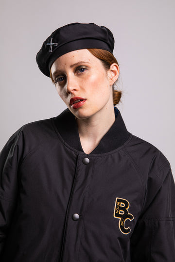 BERET HAT BLACK NYLON BOMBER
