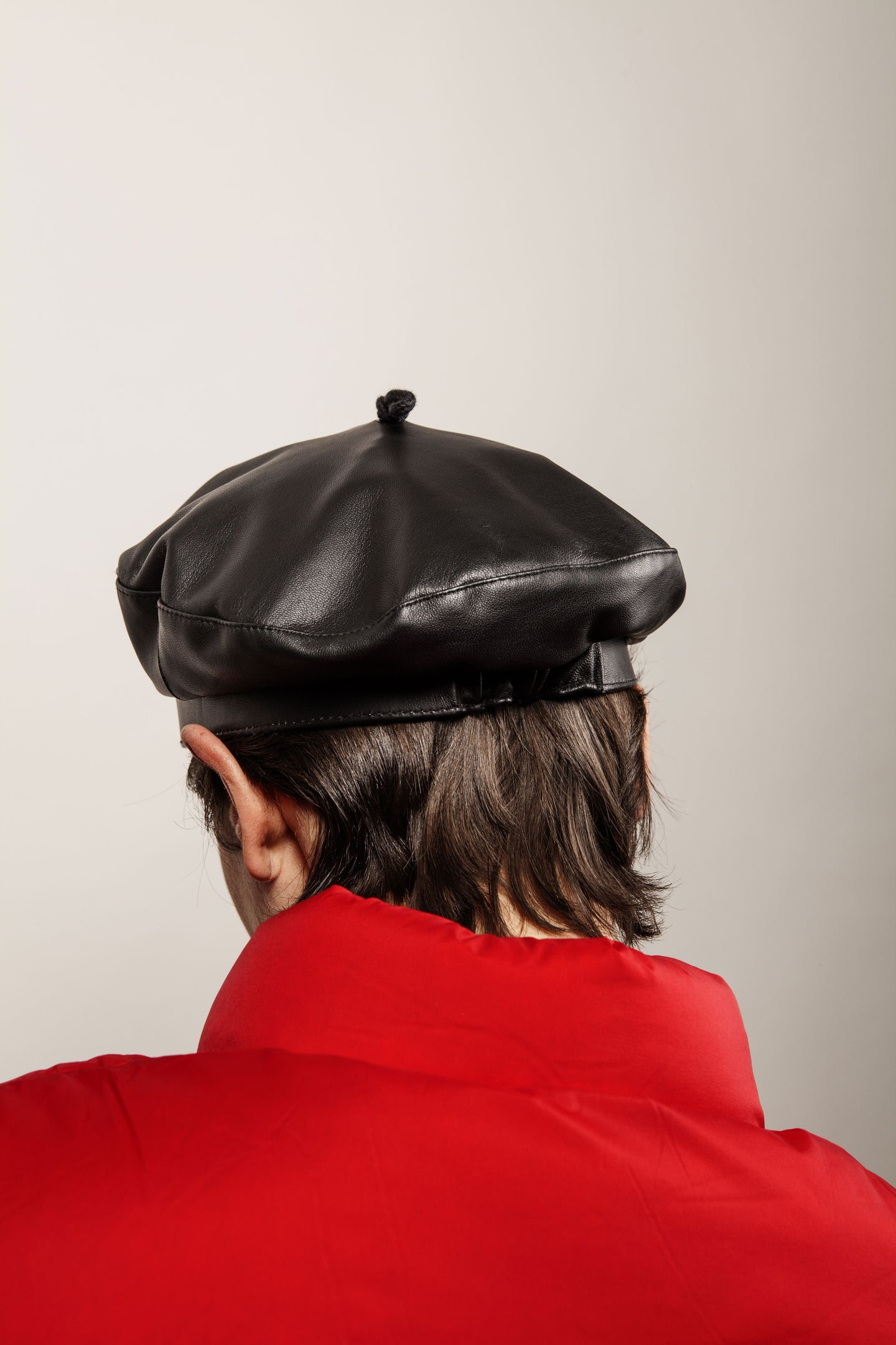 FRENCH BERET HAT BLACK WAXY LEATHER