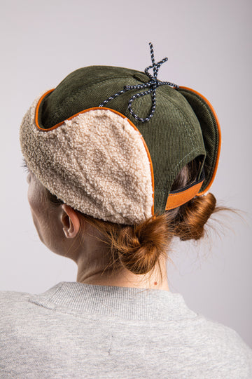 CHAPKA RUSSIAN HAT GREEN OLIVE VELVET & FLEECE