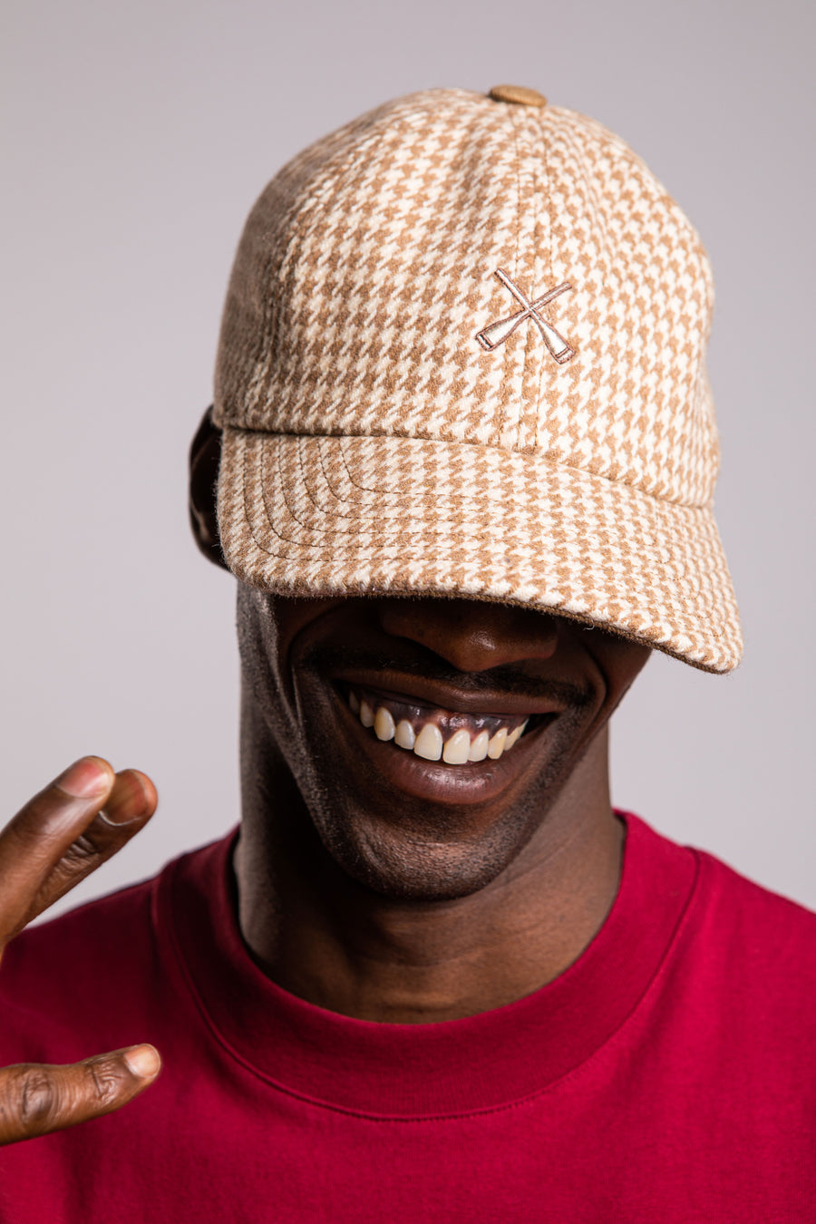 CITY CAP CURVED VISOR BEIGE HOUNDSTOOTH WOOL