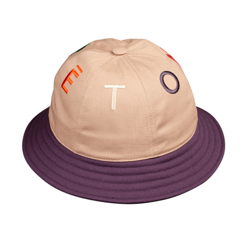 BUCKET HAT BEIGE AND PURPLE 6 PANELS & LETTERS
