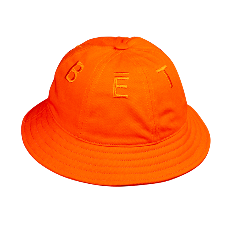 BUCKET HAT ORANGE 6 PANELS & LETTERS