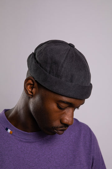 MIKI DOCKER BEANIE DARK GREY DENIM