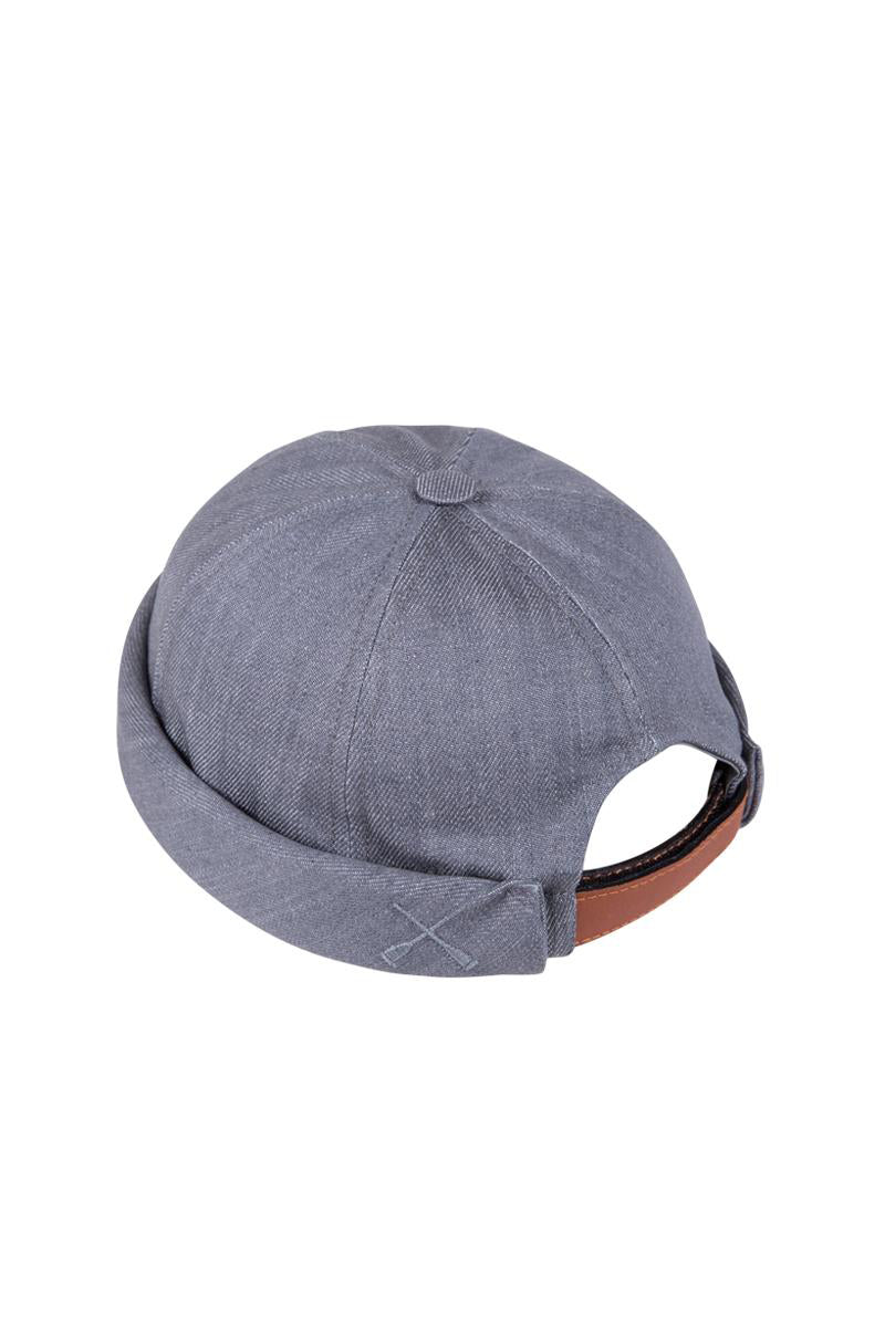 MIKI DOCKER BEANIE GREY DENIM