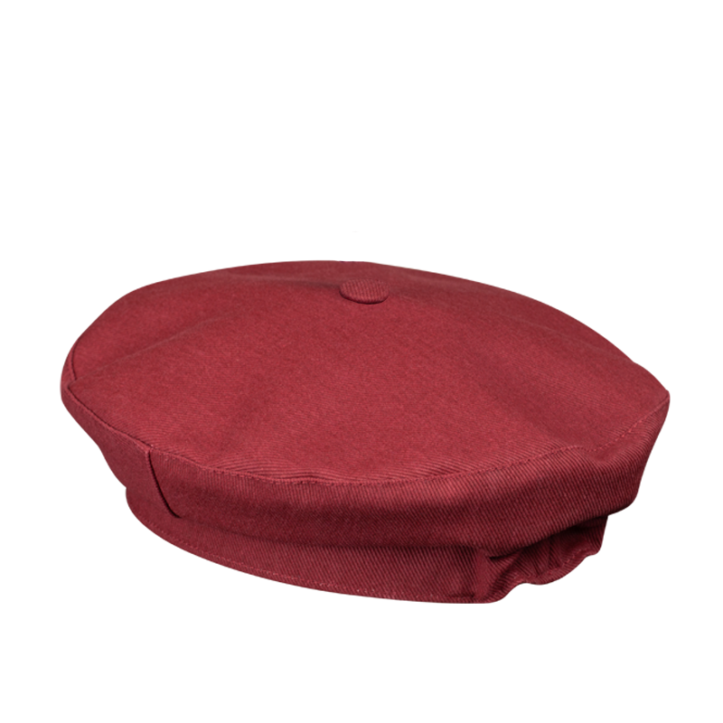 FRENCH BERET HAT RED BURGUNDY COTTON CANVAS
