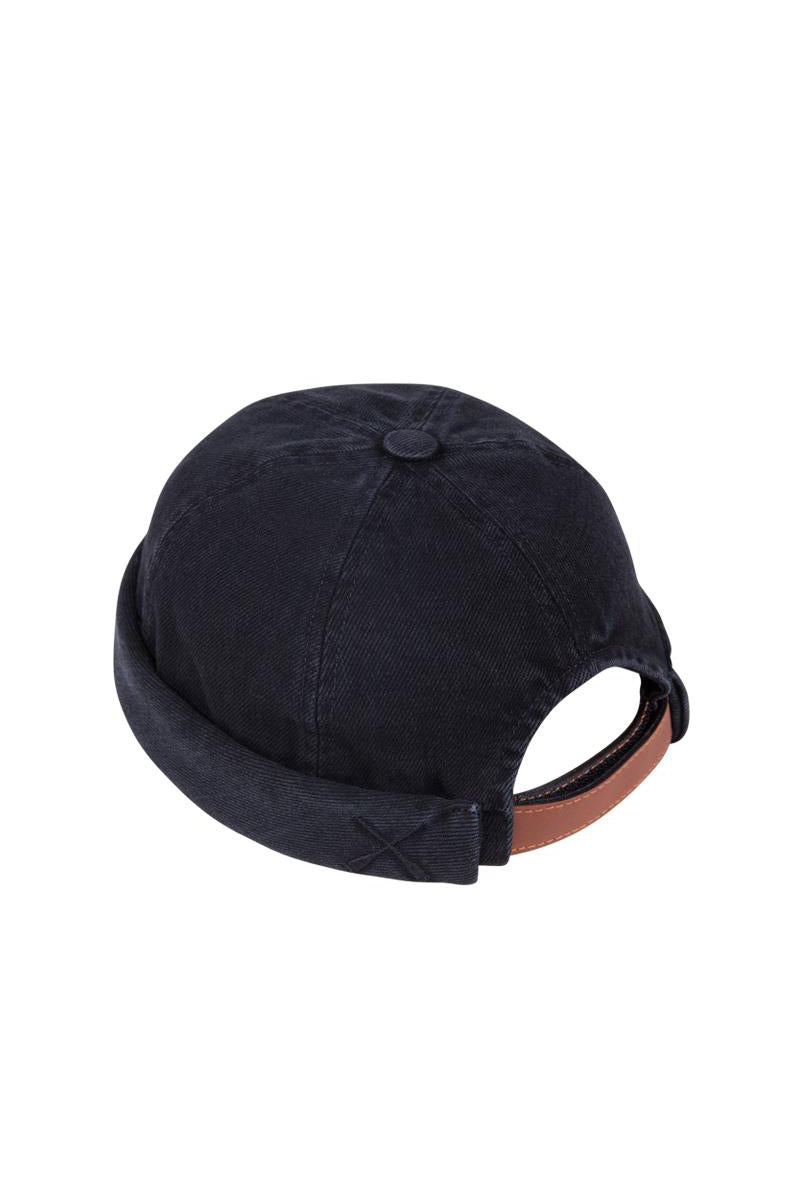 MIKI DOCKER BEANIE BLACK WASHED DENIM