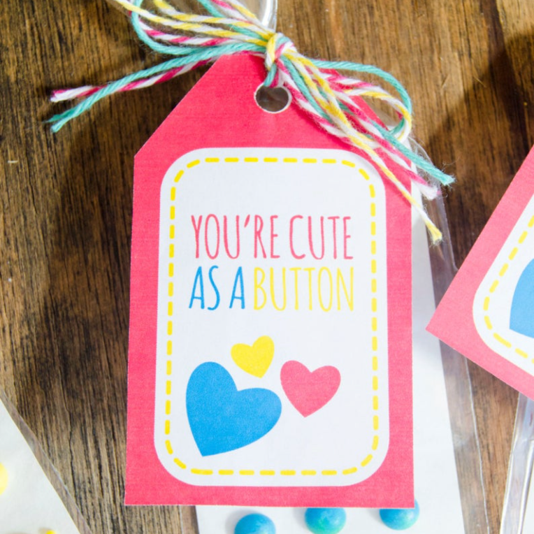 Cute As A Button Valentine Tag