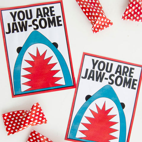 Shark Valentine Printable Tags