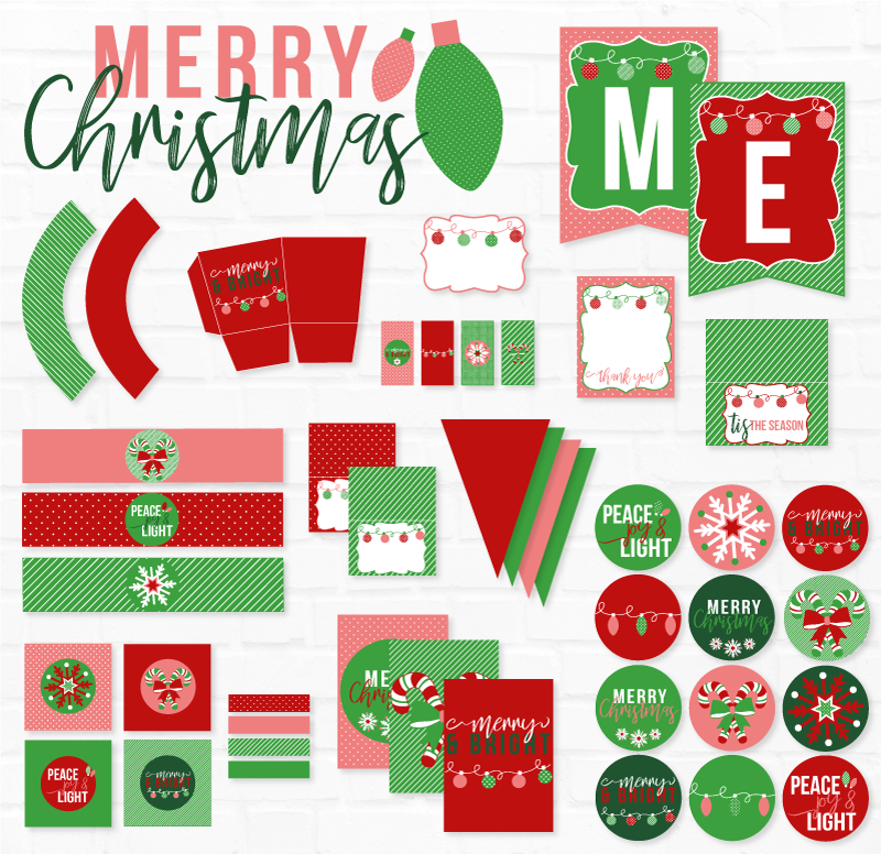 Merry & Bright Christmas Party Printables - Classic