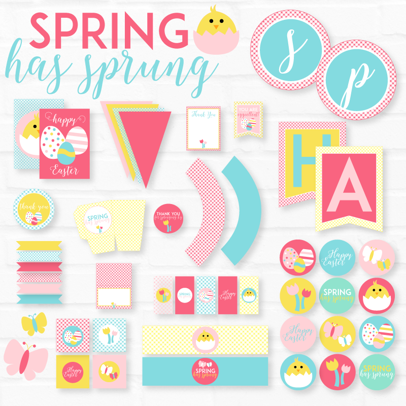 Pastel Spring Has Sprung Easter Printable Party Pack