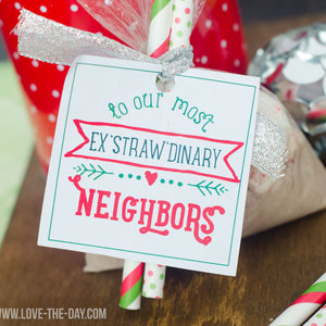 Straw Christmas Gift Tags