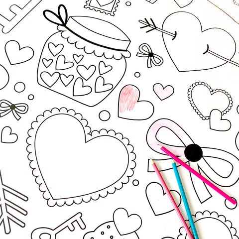 Oversized Coloring Poster - Valentine's Day