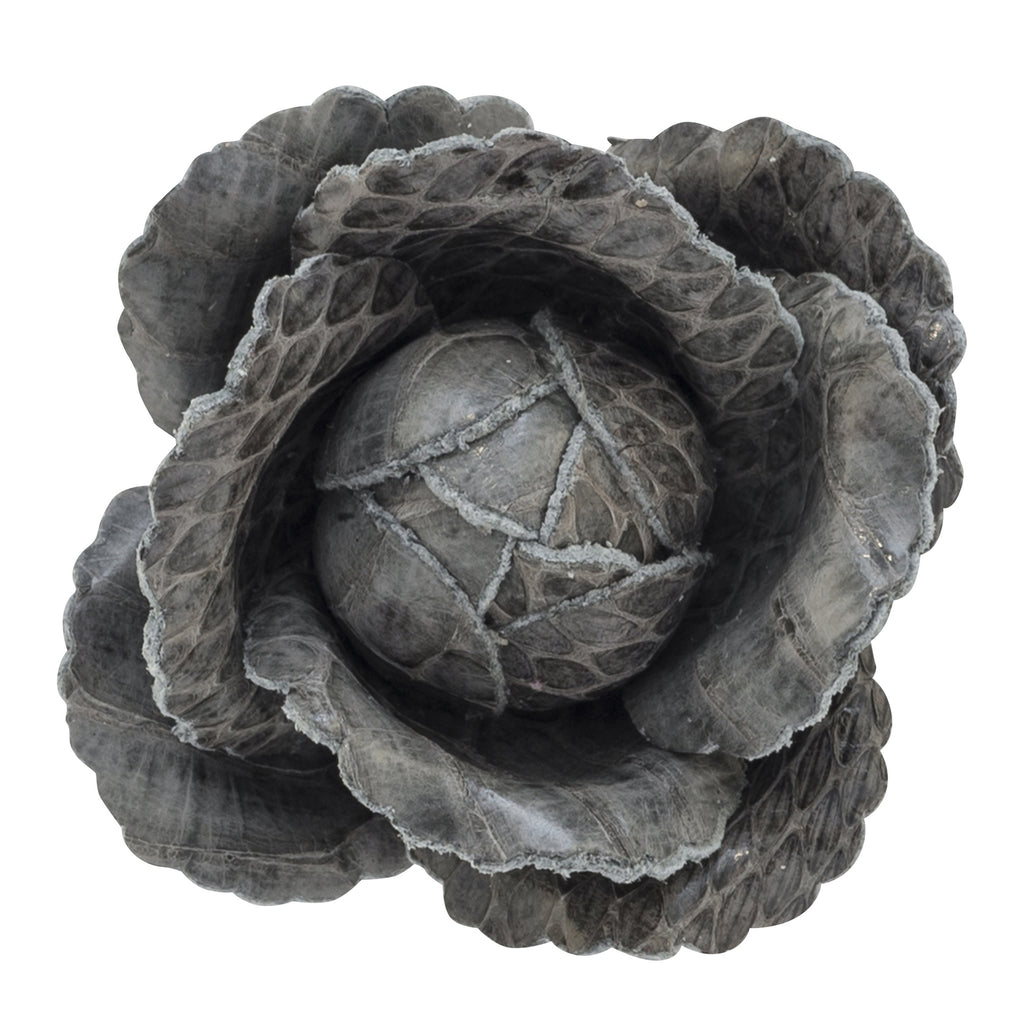 Fleur'd: Moon Mist Grey Snakeskin Cabbage Rose Pin