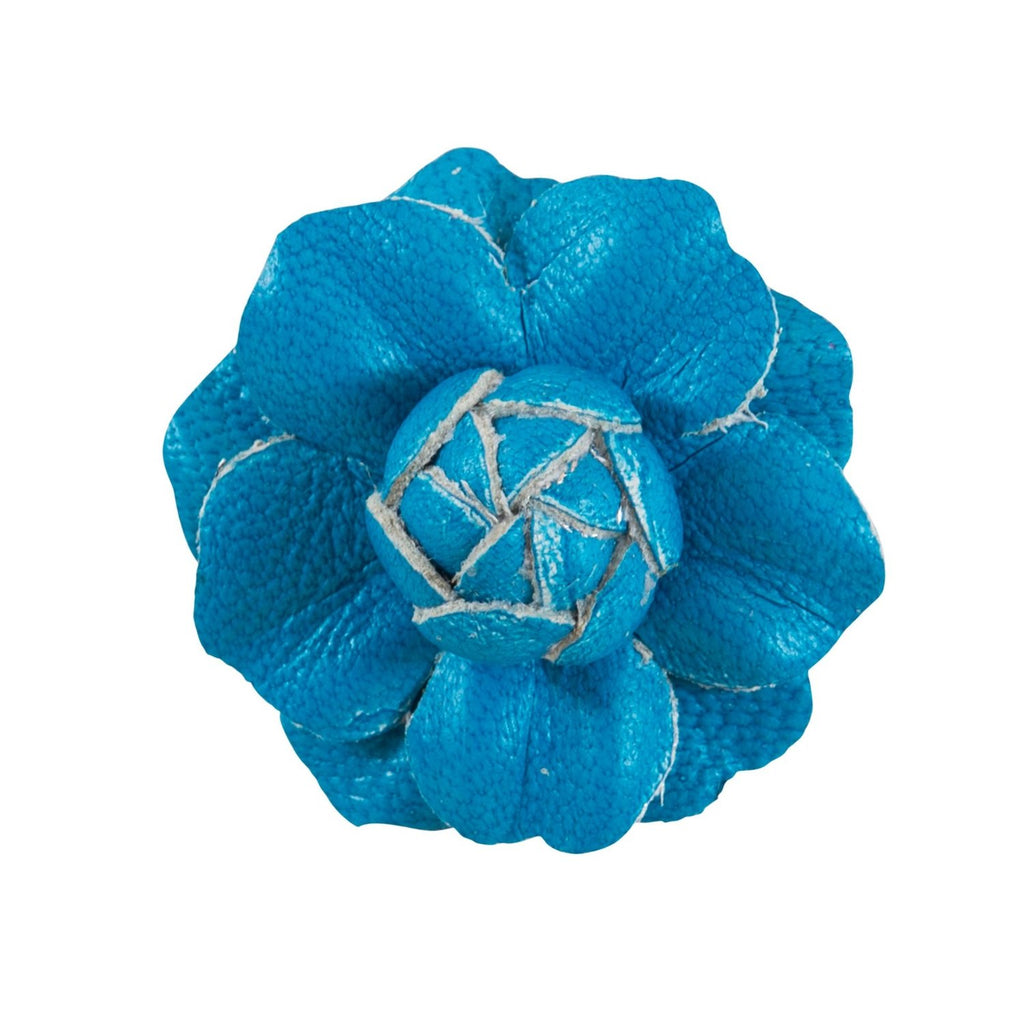 Fleur'd: Neon Blue Mini Leather Gardenia Pin