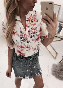Printed V Neck Half Sleeve Casual Blouse