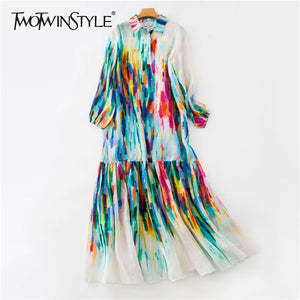 Summer Colorful Women Dress Lapel Lantern Sleeve