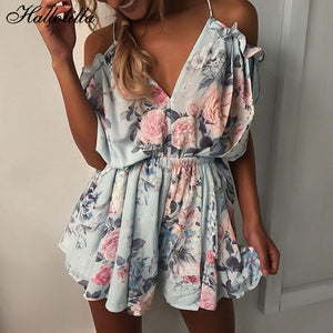 Bohemian Floral Print Sexy Rompers Short Overalls