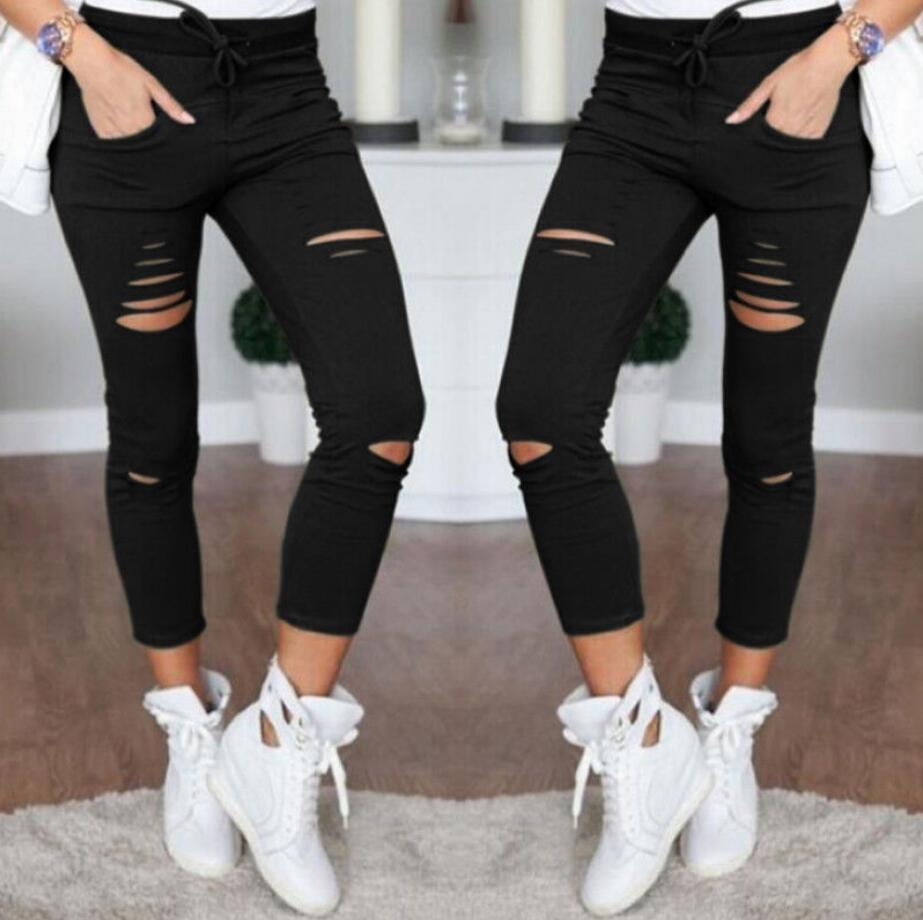 Skinny Stretch Ripped Knee Pencil Jeans
